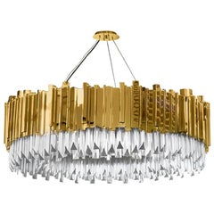 Luxxu Empire Chandelier with Brass Layers and Crystal Glass Details