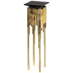 Luxxu Empire Column Display in Gold-Plated Brass with Black Marble Top