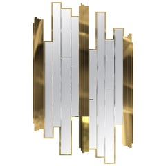 Luxxu Empire Glass Wall Mirror in Smoked Glass with Brass Details