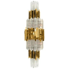 Luxxu Empire II Sconce with Brass and Crystal Glass Tiers