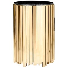 Empire Big Side Table with Gold Plated Brass Base and Nero Marquina Marble Top