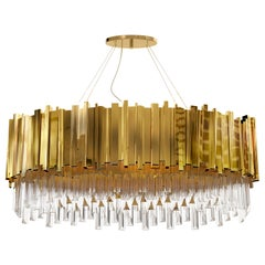 Empire Oval Pendant Light in Gold Plated Brass with Crystal Glass