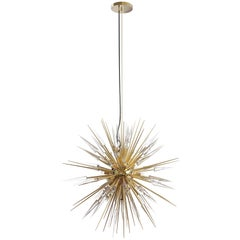Explosion Pendant Light with Brass Arms and Crystal Glass Details