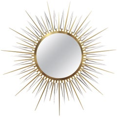 Luxxu Explosion Smoked Glass Mirror in Gold-Plated Glass with Crystal Arms