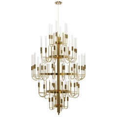 Gala Chandelier in Gold Plated Brass with Clear Crystal Glass Details
