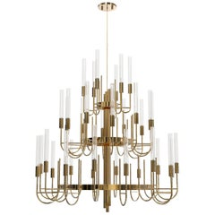 Luxxu Gala Chandelier with Brass Arms and Crystal Glass Flute Details