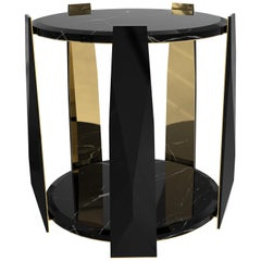 Luxxu Imperium Circular Side Table in Nero Marquina Marble with Brass Legs