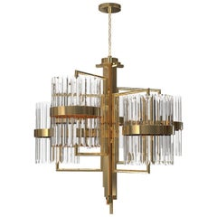 Luxxu Liberty II Pendant Light in Brass with Crystal Glass Details
