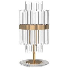 Luxxu Liberty Table Lamp in Brass and Crystal Glass with Marble Base