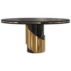Littus Dining Table in Black Marble with Spiraled Brass Base