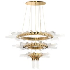 Luxxu Majestic Chandelier in Gold-Plated Brass and Crystal Glass Flute Details