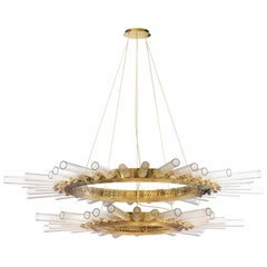 Luxxu Majestic II Pendant Light in Brass with Crystal Glass Flutes