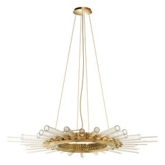 Luxxu Majestic Pendant Light in Gold-Plated Brass with Crystal Glass Flutes