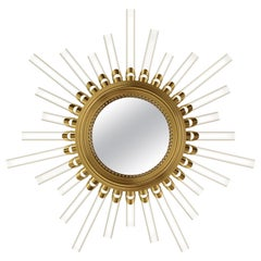 Luxxu Majestic Sconce Mirror in Gold-Plated Brass with Crystal Flutes