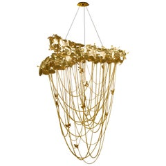 Luxxu McQueen Chandelier in Gold-Plated Brass with Swarovski Crystals