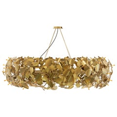 Luxxu McQueen Round Pendant Light in Gold-Plated Brass with Swarovski Crystals