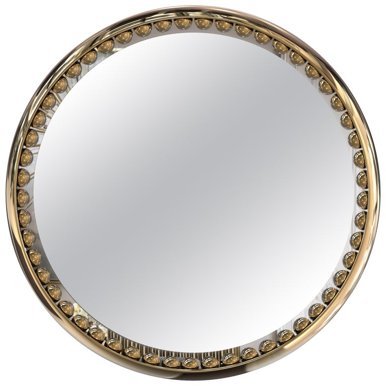 Luxxu Orbis Mirror with Gold-Plated Brass Frame and Smoked Black Mirror For Sale