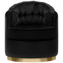 Otto Armchair in Black Leather and Velvet Upholstery with Brass Details