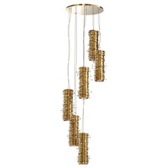 Luxxu Pearl Pendant Light in Gold-Plated Brass with Pearl Details