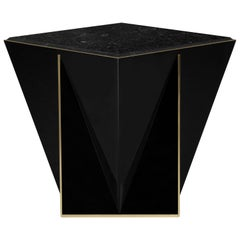 Luxxu Prisma Side Table with Brass Detail and Nero Marquina Marble Top