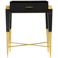 Luxxu Spear Side Table with Nero Marquina Marble Top and Brass Feet