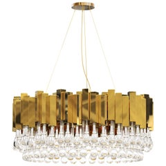 Luxxu Trump Pendant Light with Brass Layers and Crystal Glass Details