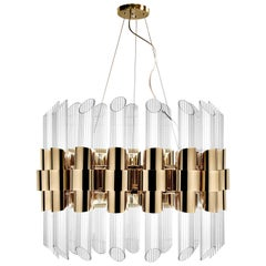 Tycho Round Pendant Light in Gold Plated Brass with Crystal Glass Cylinders