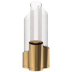 Luxxu Tycho Table Lamp in Brass with Crystal Glass Flutes