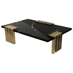 Luxxu Vertigo Center Table in Nero Marquina Marble with Brass Details