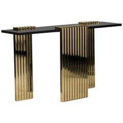 Vertigo Console Table in Nero Marquina Marble with Gold-Plated Brass Legs