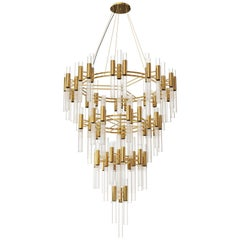 Luxxu Waterfall Chandelier with Brass Rings and Crystal Glass Flutes