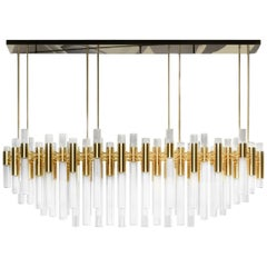 Luxxu Waterfall Rectangular Chandelier in Gold-Plated Brass and Crystal Glass
