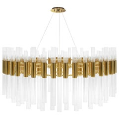 Luxxu Waterfall Round Chandelier in Brass with Crystal Glass Flute Details