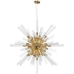 Luxxu Waterfall Sputnik Pendant Light in Brass with Crystal Glass Flutes