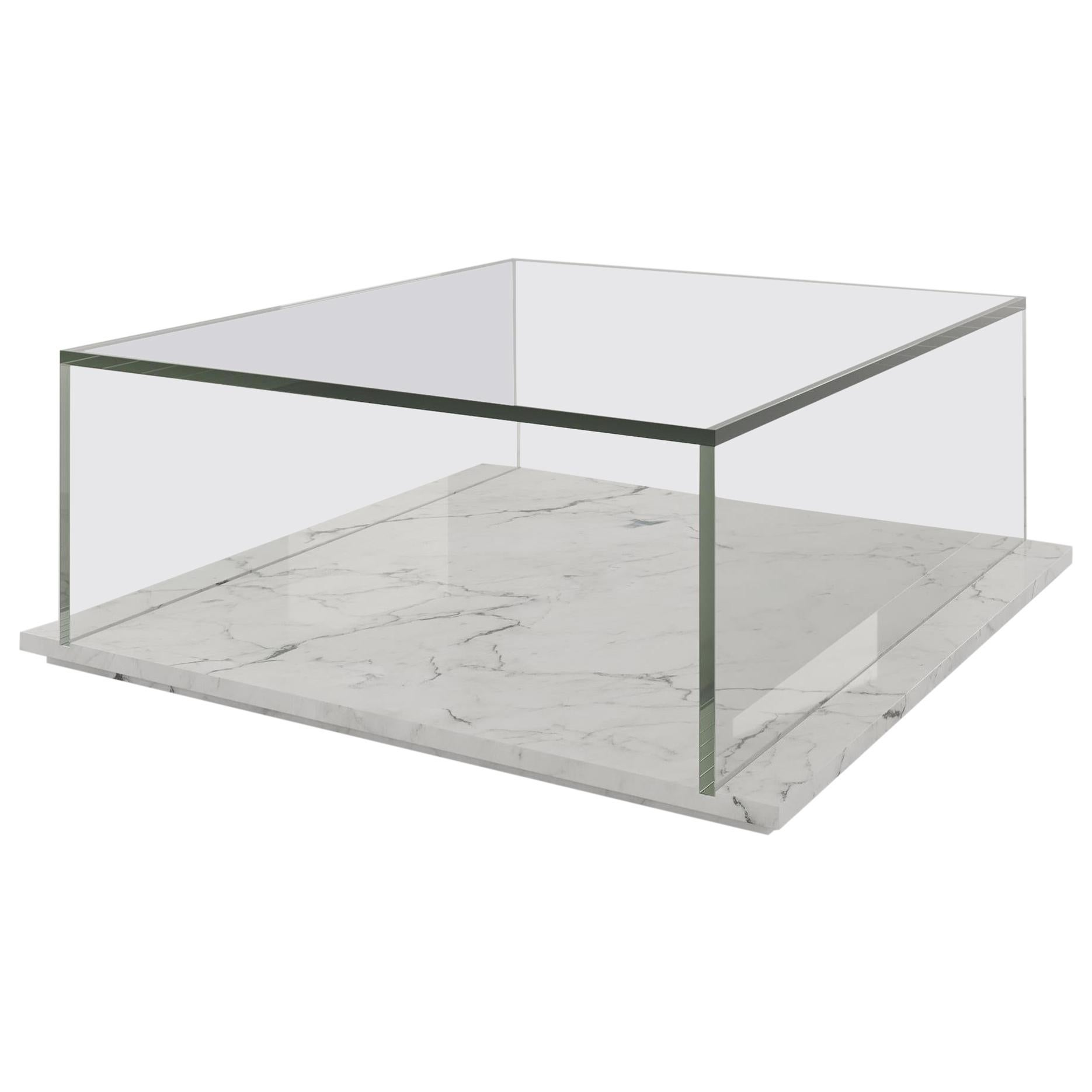 Luz Coffee Table with Glass Top Box and Marble Base