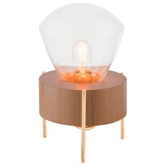 Luzeiro Table Lamp in Natural Tauari Wood, Crystal Glass Dome and Golden Details