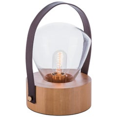 Luzeiro Table Lamp in Natural Tauari Wood, Crystal Glass Dome and Leather Handle