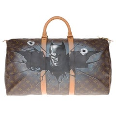 "LV Keepall 60 Travel bag in monogram canvas customized ""Batman"" #71 by PatBo !"