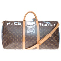 "LV Keepall 60 Travel bag in monogram canvas customized ""Batman"" #77 by PatBo !"