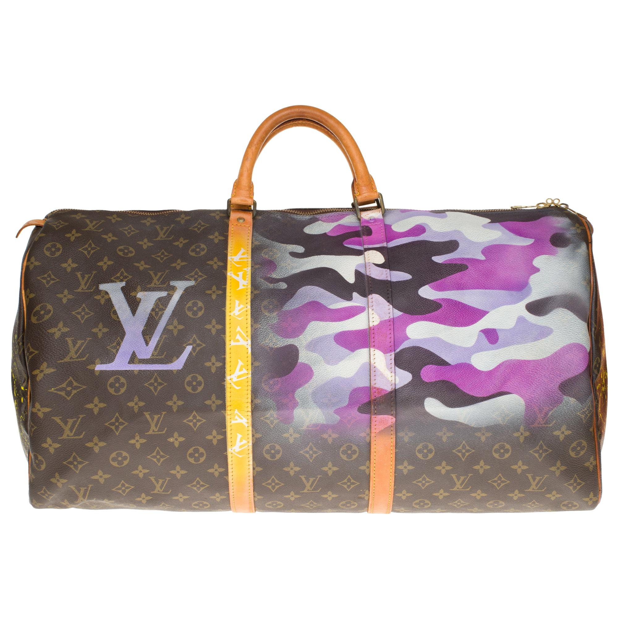 LV Keepall 60 Travel bag in monogram canvas customized by PatBo !
