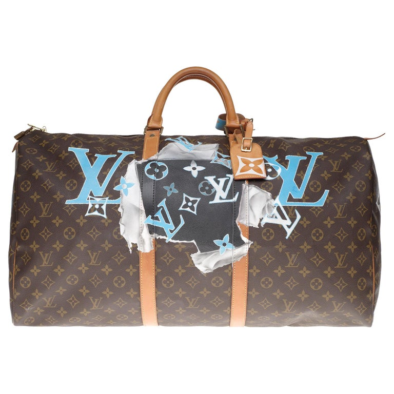 """LV Keepall 60 Travel bag in monogram canvas customized """"F***"""" #66 ! For Sale"""