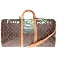 """LV Keepall 60 Travel bag in monogram canvas customized """"Hulk"""" #75 by PatBo !"""