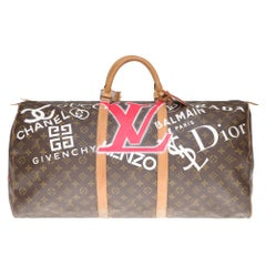 "LV Keepall 60 Travel bag in monogram canvas customized ""Luxury for ever"" #65 !"