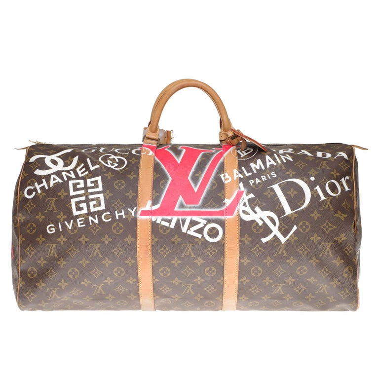 "LV Keepall 60 Travel bag in monogram canvas customized ""Luxury for ever"" #65 ! For Sale"