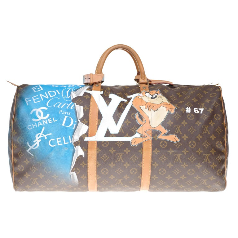 Exceptional travel bag Louis Vuitton Keepall 60 cm in brown monogram canvas and natural leather customized