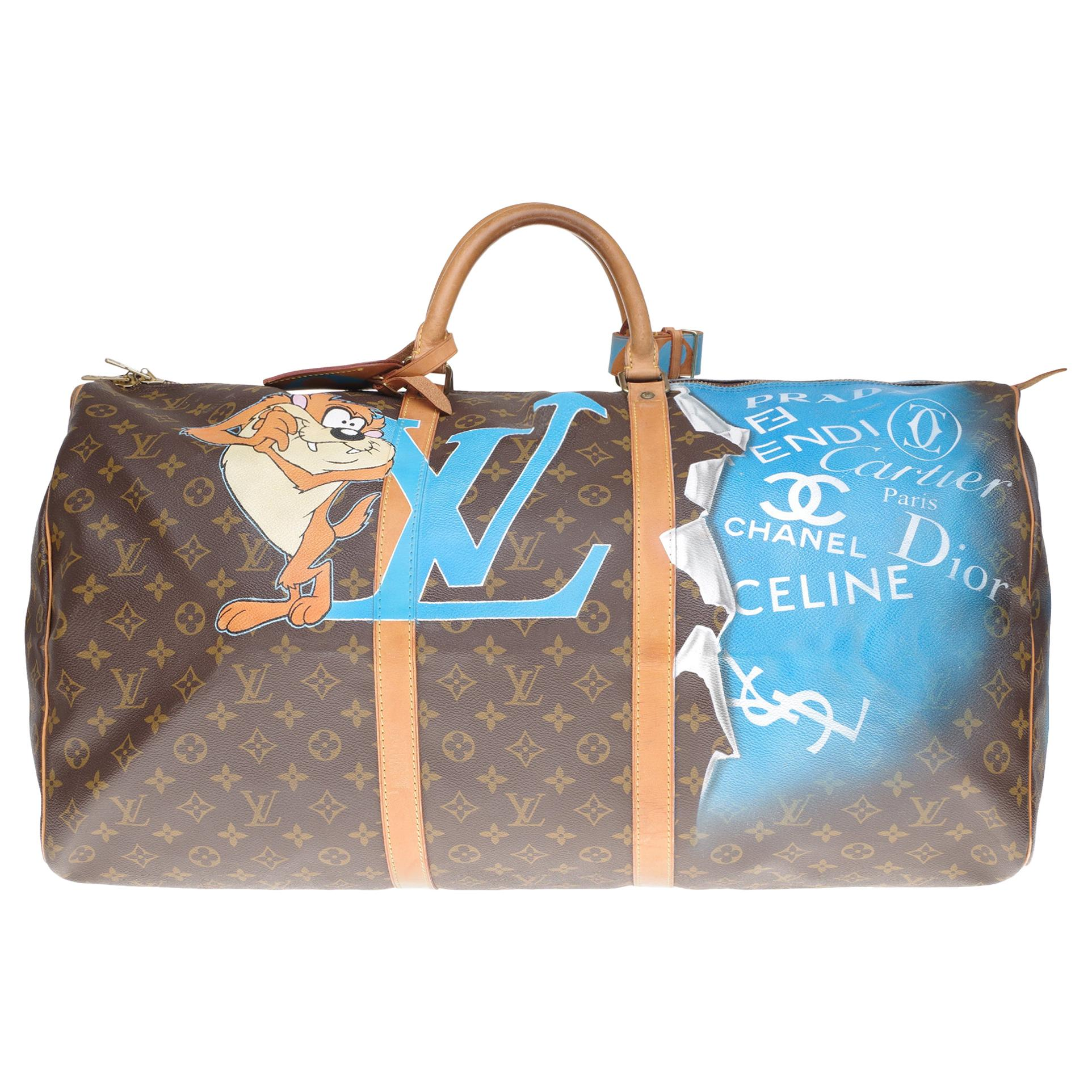"""LV Keepall 60 Travel bag in monogram canvas customized """"TAZ"""" #67 by PatBo !"""