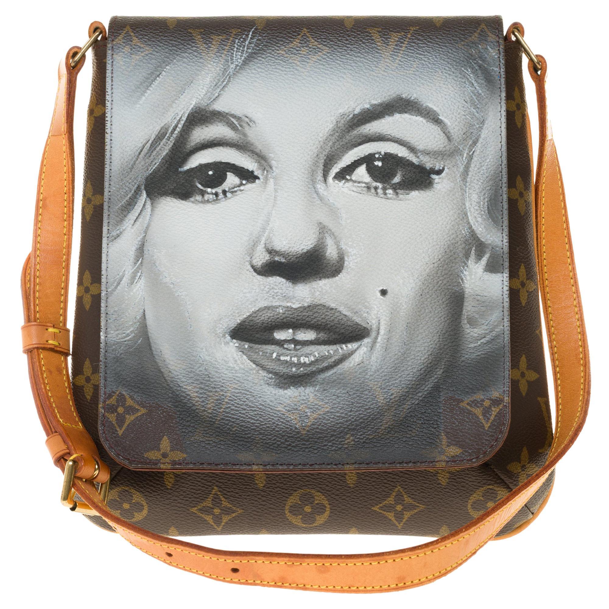 "LV Musette Salsa shoulder bag in Monogram canvas customized ""Marilyn"""