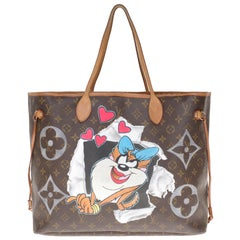 "LV Neverfull GM Tote bag in monogram canvas customized ""TAZ"" #72 by PatBo !"