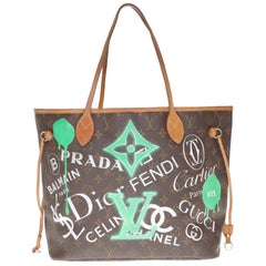 "LV Neverfull Tote bag in monogram canvas customized ""Luxury Universe"" by PatBo"