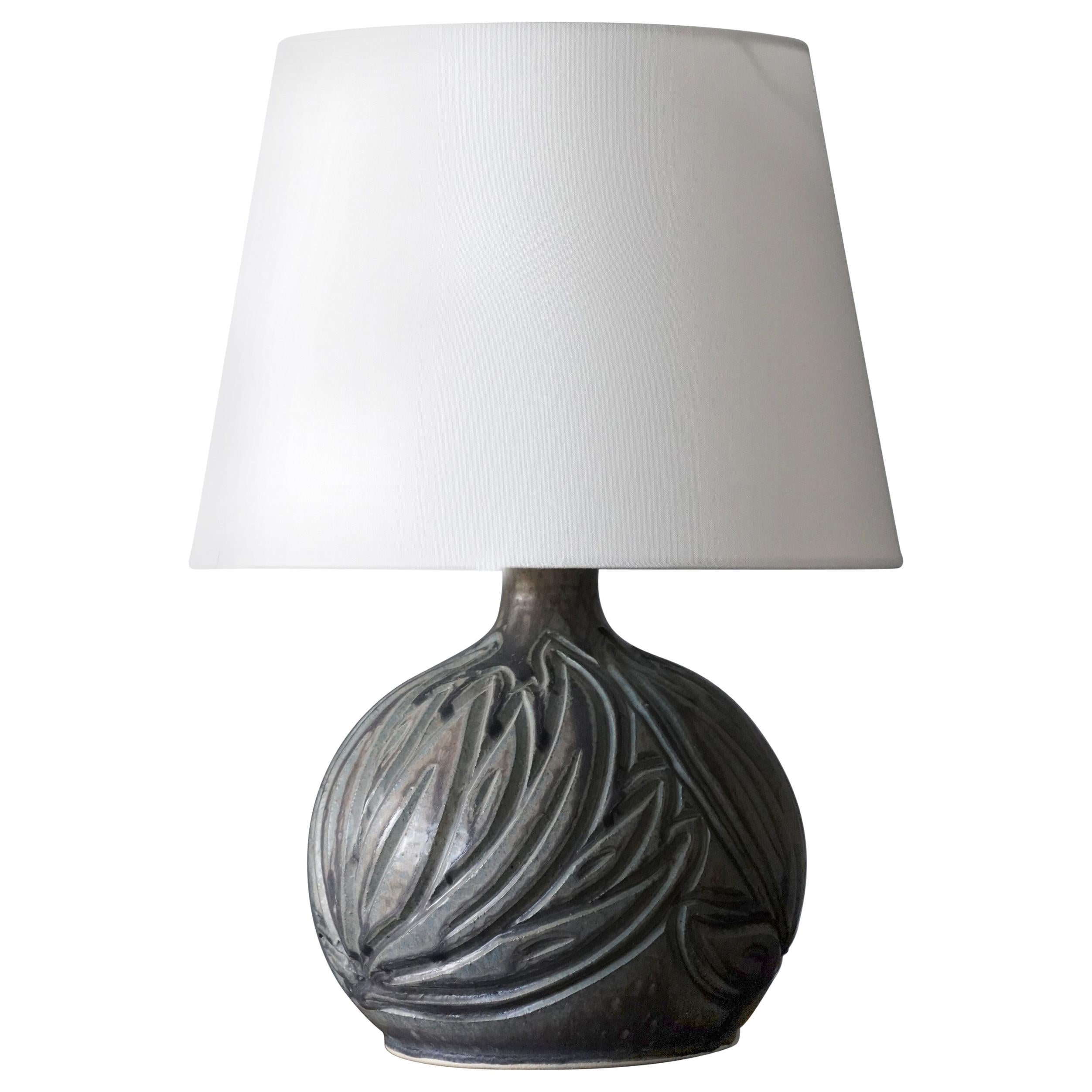 Løvemose, Organic Table Lamp, Glazed and Painted Stoneware, Denmark, 1960s